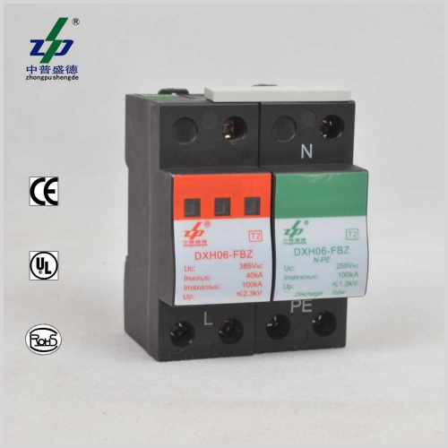 AC 220V 100kA 2P N-PE Single Phase Surge Protection Device